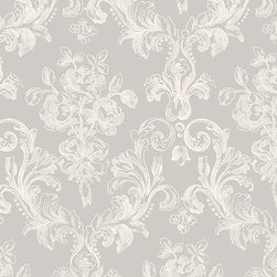 Large Floral Scroll in Grey and White - GC29822 - Collection:Grand Chateau