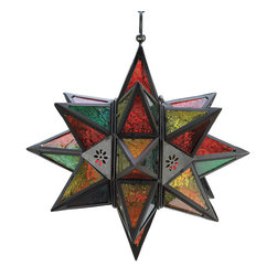 Anzy - Moroccan-Style Star Lantern - The Moroccan star is the inspiration for this multicolored lantern. Insert a tealight or votive to set the jewel-tone panels aglow!    Metal with glass panels. Uses tealights or votive candles (not included).