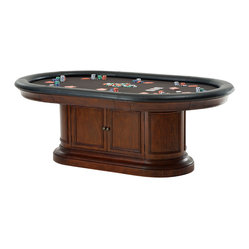 Howard Miller - Howard Miller Pub and Game Table Furnishings | BONAVISTA - Game on! Your home will become the neighborhood hangout when you bring in this full-on game table complete with poker chips and playing cards. Pull-out drink holders, padded edges and two-door shelved storage keep your games handy. Hope you like late hours!