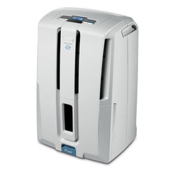 DeLonghi DD50PE Energy Star 50 pint Low Temp Dehumidifier w/ Patented Pump - 7739 delonghiLogoThe DeLonghi DD50PE Energy Star 50-pint Dehumidifier with Patented Pump features a worry-free pump function that allows the unit to continuously discharge moisture without constantly emptying a bucket. The unit can pump water upward to drain out a basement window or into a sink, up to 16 feet with the provided hose. The electronic controls and LCD display allow you to adjust relative humidity, monitor room temperature and set the 24-hour timer. With its frontally located tank and transparent water level window, you can easily see how much water has been collected if you choose to use the tank function. The tank has a 6-liter capacity and an alarm alerts you when it is filledstrong>Features: - Energy Star 50 pint-per-day dehumidifier with worry-free pump function - Empty water 3 ways: continuously through pump and 16 ft. hose, passively through 3 ft hose or manually empty tank - Visible water level - 6-liter tank control system with alarm - Electronic climate control with LCD display - Adjustable humidistat, room thermostat and 24-hour timer - Anti-frost device (down to 41 F) - Fan speed control with 2 fan speeds - Can be easily moved by castor wheels and handles - Eco friendly 410a refrigerant
