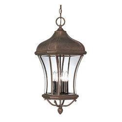 Joshua Marshal - Four Light Walnut Patina Clear Beveled Glass Hanging Lantern - Four Light Walnut Patina Clear Beveled Glass Hanging Lantern