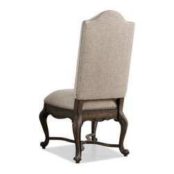 "Hooker Furniture - Rhapsody Upholstered Chair - Set of 2 - Side - White glove, in-home delivery included!  The groundbreaking Rhapsody Collection brings together classic design elements, grand scale, and a relaxed rustic finish to create an impassioned marriage of casual opulence.  Exuberant scale and serpentine shapes infuse the pieces with emotion, while timeless motifs like scrolls, rope twist molding, the acanthus leaf and fleur de lis anchor Rhapsody in old world charm.  Building on the grand scale and classic European design is the defining element of the collection: a walnut-colored finish inspired by the natural, yet rustic, nature of reclaimed woods in beautiful patinas.  Set of two chairs.  Arm height: 25 1/4""  Seat height: 21 1/2"" h"