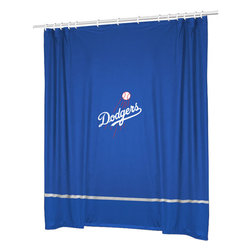 Sports Coverage - MLB Los Angeles Dodgers Baseball Accent Shower Curtain - Features: