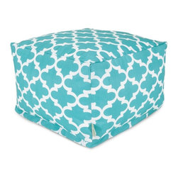 Majestic Home Goods - Teal Trellis Large Ottoman - Add a little character to your living room or patio with the Majestic Home Goods Trellis large ottoman. This ottoman is the perfect accessory to add comfort and style to any room while functioning as a decorative foot stool, pouf, or coffee table. Woven from outdoor treated polyester, these ottomans have up to 1000 hours of U.V. protection and are able to withstand all of nature's elements. The beanbags are eco-friendly and feature a zippered slipcover. Spot clean slipcover with mild detergent and hang dry. Do not wash insert.