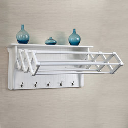 None - Accordion Drying Rack - Attractive,functional and space saver,this laundry rack extends out easily to provide 10 hanging racks; and when not in use it collapse under an attractive top shelf to hold supplies. Five large hanging hooks add extra functionality