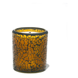 Everybody's Ayurveda - Reuseable Crackle Glass Vata Ayurvedic Candle - Amber - This Vata-balancing fragrance inspires focus and calmness. 100% soy wax Ayurvedic Candle. 6 oz. Made in the USA. 3.25 in. Tall x 3 in. Diameter. Approximate burn time is 28 hours. Reusable glass becomes a candle holder after use.