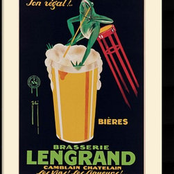 Amanti Art - Lengrand Brewery Framed Print by G. Piana - Hang a piece of charming advertising history on your wall!   This vintage advertisement for the Lengrand Brewery was created in the Cappiello style by G. Piana in 1926.
