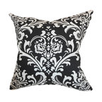 "The Pillow Collection - Malaga Damask Pillow Black 18"" x 18"" - An intricate traditional damask print decorates this soft throw pillow. Style your interiors with this elegant accent piece to add drama and sophistication. This printed decor pillow features a black and white color palette. Decorate your bed, sofa, nook or floor with this fancy 18"" plush pillow. Pair this with solids and make this the statement piece of your living room or bedroom. Hidden zipper closure for easy cover removal.  Knife edge finish on all four sides.  Reversible pillow with the same fabric on the back side.  Spot cleaning suggested."