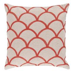 "Surya - Surya 18 x 18 Decorative Pillow, Orange-Red and Peach Cream (COM009-1818P) - Surya COM009-1818P 18"" x 18"" Decorative Pillow, Orange-Red and Peach Cream"