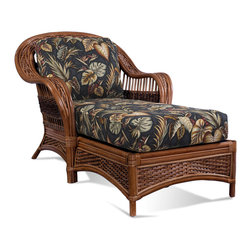 Tigre Bay Rattan Chaise - Rattan Chaise measures 35w-67l-39h. The Tigre Bay rattan chaise lounge brings a tropical look to your area & features premium quality rattan framed on wood with thick bottom and back cushions in your choice of fabric. Comfort straps enhance the comfort and durability of this chaise lounge which makes it last many years.