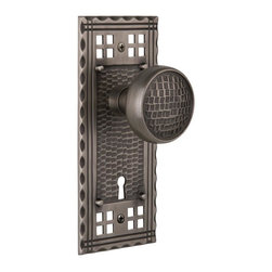 Nostalgic Warehouse - Nostalgic Craftsman Plate with Craftsman Knob and Keyhole in Antique Pewter - Inspired by the American Arts & Crafts movement of the early 1900s, the rugged design and hand-hammered details of the Craftsman Long Plate in antique pewter emphasizes handwork over mass production. Combine this with our Craftsman knob for a distinctly hand-crafted look. All Craftsman knobs are forged brass for durability and beauty.
