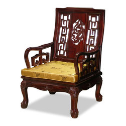 China Furniture and Arts - Rosewood Imperial Dragon Motif Arm Chair - Stately in its square form, the majestic presence of this armchair is further accentuated with the dragon design in the center and the tiger paw design of the feet. Made of solid rosewood in traditional joinery technique by artisans in China. Hand applied rich dark cherry finish.