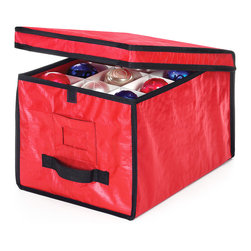 Whitmor - Red & Black Rugged Ornament Storage Box - Keep holiday ornaments organized and protected with this durable storage bag. A carry handle and hook and loop closure make stowing and unpacking easy.   12'' W x 17'' H x 10'' D 100% polypropylene Imported