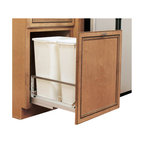 "Rev-A-Shelf - Rev-A-Shelf 5349-2150DM-2 Double 50 Qt. Soft Close Pullout Waste Container-White - Are you looking to reduce clutter and spruce up your kitchen? Need a wastebasket that will not only hold a lot of garbage but not take up too much space? The Bottom Mount Double 50 Quart White Pullout Waste Container Cabinet Organizer might be precisely what you're looking for. This pullout waste unit not only saves you space in your kitchen, but looks quite stylish as well. The two included polymer white waste containers have a capacity of 50 quarts each, meaning you won't have to empty them as often as most trash cans. They're also removable, making cleaning underneath them a cinch. Additionally, the drawer itself is well constructed, featuring sturdy aluminum soft close slides and a fully-adjustable door mount frame. Simply attach your cabinet door face to the door mounting kit and you're all set. If you are looking to beautify your kitchen and free up space, the Rev-A-Shelf 5349-2150DM-2 is exactly what you need. Physical specifications: 14-13/16"" W x 22-1/8"" D x 22-15/16"" H. Please make sure your cabinet has an minimum opening of at least 15"" W x 22-1/4"" D x 23-1/8"" H to ensure a proper fit."