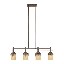 Designers Fountain - Designers Fountain 82138-WM 4 Light IslandMission Ridge Collection - Framework reflecting the elegance and beauty of the Arts and Craft period. Clean, straight lines outline the pillar glass shades, adding a distinctive flair to any environment.