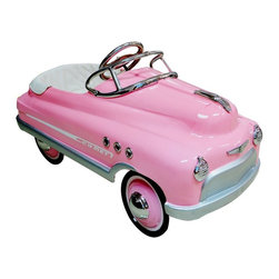 Airflow Collectibles - Airflow Collectibles Pink Comet Car Pedal Riding Toy - AFC112 - Shop for Tricycles and Riding Toys from Hayneedle.com! Your little Pink Lady may be more of a Frenchy than a Rizzo (hopefully not a Jan) but she'll always look fabulous rolling around in the Airflow Collectibles Pink Comet Car Pedal Riding Toy. When other pedal toys are formed from blobs of plastic this stunning ride is made from durable metal that's given all the right touches to emulate the look of a real vintage Caddie. The metal body has a lead-free powder-coat finish with plenty of chrome providing the accents on the hubcaps lights windshield insignia and side vents. High-traction tires will grab the road while the non-slip pedals will stay right under their feet while they're cruising. A padded seat adds comfort and the pedal assembly has five different positions allowing you to get the safest and most comfortable fit for your little motorist.About Airflow CollectiblesAirflow Collectibles is an Orange Calif.-based company that specializes in the reproduction of vintage children's toys. The streamlined steel tricycles pedal cars and pedal plane replicas have an identical look and feel to the quality toys that were popular in America in the 1930s 40s and 50s. Airflow tricycles aren't merely retro-inspired; they are genuine recreations of beloved heirlooms. Each vehicle is painted with lead-free paint and has been safety tested and approved in the U.S.A.
