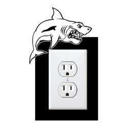 StickONmania - Outlet Cartoon Shark Sticker - a vinyl decal sticker to decorate a wall outlet.  Decorate your home with original vinyl decals made to order in our shop located in the USA. We only use the best equipment and materials to guarantee the everlasting quality of each vinyl sticker. Our original wall art design stickers are easy to apply on most flat surfaces, including slightly textured walls, windows, mirrors, or any smooth surface. Some wall decals may come in multiple pieces due to the size of the design, different sizes of most of our vinyl stickers are available, please message us for a quote. Interior wall decor stickers come with a MATTE finish that is easier to remove from painted surfaces but Exterior stickers for cars,  bathrooms and refrigerators come with a stickier GLOSSY finish that can also be used for exterior purposes. We DO NOT recommend using glossy finish stickers on walls. All of our Vinyl wall decals are removable but not re-positionable, simply peel and stick, no glue or chemicals needed. Our decals always come with instructions and if you order from Houzz we will always add a small thank you gift.