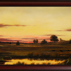 overstockArt.com - Heade - Sunset Rhode Island - This is a remarkable oil painting reproduction of a Martin Johnson Heade original Sunset Rhode Island. Today it has been reproduced with exceptional use of color, detail and brush strokes. This oil painting has an inspiring setting that is sure to bring many admirers. Martin Johnson Heade was a prolific American painter known for his salt marsh landscapes, seascapes, portraits of tropical birds, as well as lotus blossoms and other still life images. His painting style and subject matter, while derived from the romanticism of the time, Heade's work was not widely known during his life time. However, his work did attract scholars, art historians, and collectors during the 1940s. He quickly became recognized as a major American artist.