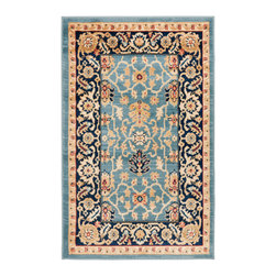 "Safavieh - Rowland Rug, Light Blue / Navy 2'6"" X 4' - Construction Method: Power Loomed. Country of Origin: Turkey. Care Instructions: Vacuum Regularly To Prevent Dust And Crumbs From Settling Into The Roots Of The Fibers. Avoid Direct And Continuous Exposure To Sunlight. Use Rug Protectors Under The Legs Of Heavy Furniture To Avoid Flattening Piles. Do Not Pull Loose Ends; Clip Them With Scissors To Remove. Turn Carpet Occasionally To Equalize Wear. Remove Spills Immediately. Description: The dramatic patterns of heirloom Serape, Sultanabad and Oushak rugs are recreated for 21st century lifestyles in the Austin Collection. Power-loomed of long-wearing, easy-care polypropylene, each rug stands up to heavy traffic while adding timeless beauty to entry hall, living room, kitchen and more."