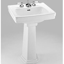 """Toto - TOTO Promenade® Small Pedestal Lavatory - Traditional design, distinctive style. The Promenade® pedestal vanity is perfect for a small bath or powder room. Also available in large size. Available with single hole, 4 inch, or 8 inch faucet mounts. Also available without pedestal. Features & Specs Traditional styling with distinctive lines 34"""" Universal Height for maximum comfort Rear overflow Complete with mounting hardware One Year Limited Warranty View Spec SheetDimensions Width Depth Height 24"""" 19"""" 34 3/8"""" **Due to the high cost of shipping this item, we can only accept orders of three units or more for free shipping. Please contact us for a shipping quote on one or two units."""