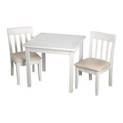 Gift Mark - White Square Table & Slat-Back Chair Children's Set - Designed with a clean look and sturdy wood construction, this sophisticated seating set lends tots a plush place to polish off homework, play games and more.   Includes table and two chairs Weight capacity: 60 lbs. Table: 24'' W x 20'' H x 24'' D Chair: 11.5'' W x 24'' H x 13'' D Seat: 12'' H Wood Assembly required Imported