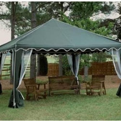 13 x 13 ft. King Canopy Garden Party Frame Canopy - When you throw an outdoor party the last thing you want to worry about is the stability of your canopy. With the King Canopy Garden Party rest assured your party will go off without a hitch. 1 3/8 steel frame is powder coated for durability and strength. A standard four-leg design hoists easily with no tools. The polyester top is UV and weather resistant and the included netting can be gracefully draped back or let down for protection. Large 13 x 13 size.