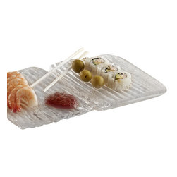 The Ivory Company - Bark Tray  Small - The award for best party presentation goes to your sushi appetizer when they're arranged on our distinctive Bark serving trays! Clear glass is enhanced with a wavy bark design that perfectly complements the Asian delicacies.