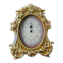 "Godinger Silver - Victorian Oval Clock - This clock makes a charming accent for a bedroom, study or office. It's perfect as a timeless gift to celebrate retirement, new home or other special occasions. Let it sit on your chest as its centerpiece and get ready for some warm compliments. This gold desk clock can make the perfect gift for practically anyone. Measures approx: 8"" high x 7"" wide."