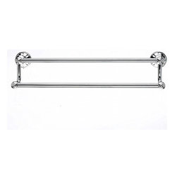 "Top Knobs - Hudson Bath 18"" Double Towel Rod - Polished Chrome - Length - 20 1/4"", Projection - 6 1/8"", Center to Center - 18"", Bar Stock Diameter - 5/8"" Base Diameter - 2 1/4"" w (x) 2 1/4"" h"