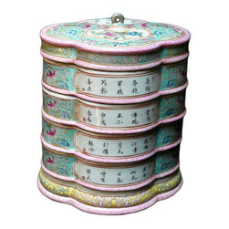 Golden Lotus - Porcelain Blue Flower Shape Stack Candy Box - This is a stylish elegant decorative accent for the modern home. It can become a few dishes for candy or accessories display. When all stack together, it is a home decoration charm.