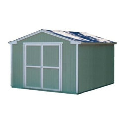 Handy Home Cumberland Storage Shed - 10 x 12 ft. - Start small with just a rake or a weed-eater, and pretty soon you'll have the Handy Home Cumberland Storage Shed - 10 x 12 ft. turned into a fully-appointed storage unit. 6-foot high side walls with an 8-foot central peak give you ample storage room for gardening supplies or outdoor gear. This solid wood building is available with or without a floor, and features a double door, with a 64W x 72H-inch opening, that's pre-hung on full-length hinges and wide enough to accommodate most anything that you can fit in this convenient structure. The exterior panels are pre-primed and ready for you to start painting. Detailed assembly instructions and all the required hardware are included.About Handy HomeSince 1978, Handy Home has been making it easy and affordable for their customers to add storage sheds, gazebos and playhouses to their homes. As North America's largest producer of wooden storage and recreational building kits, Handy Home makes durable structures that require no sawing or drilling and can be delivered when and where their customers need them.