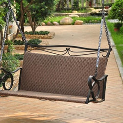 International Caravan - Hanging Patio Swing in Antique Brown Finish - Includes 4 ft. chain. Patio swing stand not included. Equipped with a strong and durable brown matte powder coated steel frame. All weather resistant and UV light fading protection against sun. Made from steel frame and resin wicker. Assembly required. 87 in. W x 46 in. D x 51 in. H (90 lbs.)The Valencia patio swing ensure long lasting enjoyment and strength.