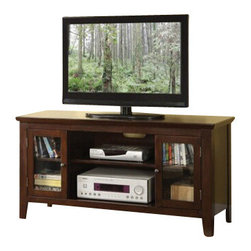 """ACMACM91050 - Banee Espresso Finish Wood TV Stand Entertainment Center with Side Glass Front - Banee espresso finish wood TV stand entertainment center with side glass front cabinet doors. Measures 48"""" x 16"""" x 24"""" H. Some assembly may be required."""
