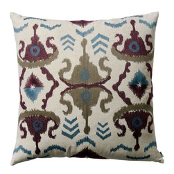 """KOKO - Blue and Plum Ikat Pillow, 26"""" x 26"""" - Ikat is all the rage in design circles. This pillow has almost an Aztec influence with the mirrored patterns. It would add a fresh look to your bed or sofa."""