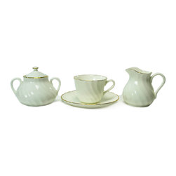 Lavish Shoestring - Consigned 8 Placements Coffee Set Gold Chelsea by Wedgwood, Vintage English - This is a vintage one-of-a-kind item.