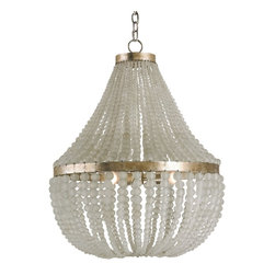 Currey and Company - Chanteuse Chandelier, Standard - Full of chic, contemporary elegance, this chandelier is the radiant revamp you've been looking for. Hanging from gold-finished wrought iron rings, two tiers of glass-bead strings beautifully diffuse light to give your space a warm, romantic glow.