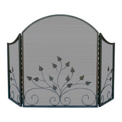 Uniflame - Uniflame S-1985 3 Fold Arch Top Graphite Screen w/ Leaves - 3 Fold Arch Top Graphite Screen w/ Leaves belongs to Fireplace Accessories Collection by Uniflame