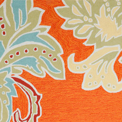 Trans-ocean - ornamental leaf border rug (orange) 8-ft round - Soft under foot, these luxurious outdoor rugs are hand-looped and hand-cut in a similar fashion to fine indoor oriental rugs. UV-stabilized synthetic yarns minimize fading and naturally repel mildew and insects.