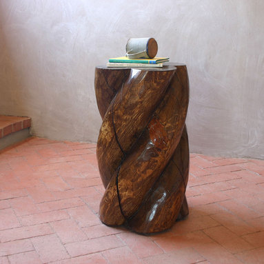 Hand Carved Side Table - This beautiful side table is carved by hand in New Mexico, USA with locally-harvested Pine logs historically used in traditional Adobe homes as exposed ceiling beams called Vigas. Wood carving has a long tradition in the American Southwest that dates back to the earlier Spanish settlers. The rope carving technique used to create our table is one of the most popular of the traditional styles.