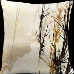 Lama Kasso - Impressions Pale Gold with Dark Brown Foliage 18 x 18 Microsuede Pillow - -Microsuede Lama Kasso - 158S