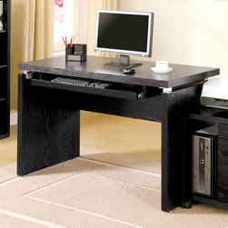 Coaster - Black Transitional Desk - Clean lines and functionality describe this home office group. The top desk features a keyboard tray and pairs perfectly with the matching computer stand. Bookcase or mobile file cabinet.