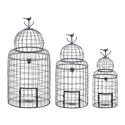 Benzara - Victorian-Style Birdcages With Perching Bird, Set of 3 - This Victorian style bird cage creates a proud home for any bird, as well as adding a rich Victorian style to your decor. This includes a set of 3 cages, each featuring a delicate perching bird on top. Perfectly made for the family room or den, but don't hesitate to place your gorgeous bird cage on the back patio for some extra fresh air.
