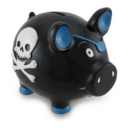 Zeckos - Black and Blue Pirate Pig with Skull and Crossbones Piggy Bank Coin Bank - This adorable cold cast resin pirate pig money bank really brightens up a room. The bank features a Jolly Roger skull and crossbones on each side, and the pig is wearing an eye patch. The pig measures 4 3/4 inches (12 cm) tall, 4 1/4 inches (11 cm) wide and 5 1/2 inches (14 cm) deep. The bank empties via a plastic plug on the bottom. He is hand-painted, and makes a great gift for pig or pirate lovers.