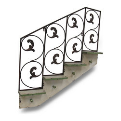 Zeckos - Shabby Chic 4 Step Stair Shelf Coat Rack Wall Hanging - This beautiful staircase shaped metal wall hanging features 4 small wooden shelves, each 7 inches long, 2 inches wide, and has 4 wooden wall knobs, perfect for hanging coats, sweatshirts, dog leashes or coffee mugs. The wall hanging measures 28 inches by 26 inches, and has a scrolled metal backdrop wuith an oxidized brown finish. It's a great addition to kitchens, hallways, mud rooms and foyers.