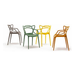 Kartell Masters Chair - This sinuous chair has a unique shape yet its classic proportions and sculptural silhouette make it what I believe is an icon. Available in six solid colors.