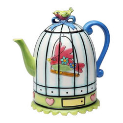 ATD - 6.5 Inch Multicolored Bird Cage with Ribbon and Heart Design Teapot - This gorgeous 6.5 Inch Multicolored Bird Cage with Ribbon and Heart Design Teapot has the finest details and highest quality you will find anywhere! 6.5 Inch Multicolored Bird Cage with Ribbon and Heart Design Teapot is truly remarkable.