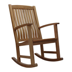 Douglas Nance - Douglas Nance Classic Teak Rocker - The Douglas Nance philosophy about teak furniture is different than most. While all around we see designs and styles that minimize the use of teak wood by substituting with aluminum or adding sling fabric material, we have gone the other direction. Slim and sleek won't be found in descriptions of our furniture. Instead you'll read masterful, bold and rock solid. Everything in the design of our styles has been about making a statement with teak. We've added thickness to our parts to give unheard of stability and strength. We've also added extra dimension to provide more room and comfort than any teak designs we have ever seen.