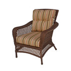 WickerParadise - Savannah Collection, Vinyl Wicker Chair - Sink into ultimate comfort, indoors or out, with this handsome, ample armchair. Its lattice-weave design and plush, striped upholstery offer a classic feel, ideal for your favorite relaxed setting.