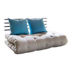 Karup Design - Karup Design Shin Sano, Horizon-Blue, Grey Cushion - Space-saving furniture makes any room bigger. Sofa by day, lounger by night - versatile and functional. This Shin Sano sofabed is ideal in that extra room for, livingroom sofa, or just about anywhere in your home. Comfort, simplicity and space-saving efficiency.