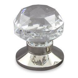DIAMOND CUT DOOR KNOB - Description:Diamond Cut design Clear Crystal Knob shown with Plain (P) Polished Nickel Rose